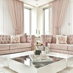 As an interior designer, you can discover modern luxury living room design ideas combining luxurious materials with a light gold Romantic Living Room, Elegant Living Room, Home Living Room, Apartment Living, Living Room Designs, Blush Living Room, Barn Living, London Apartment, Living Room White