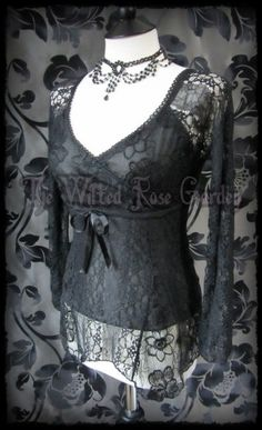 Gorgeous Goth Black Lace & Fishnet Cross Over Party Top 8 10 Victorian Doll | THE WILTED ROSE GARDEN on eBay // UK Based // Worldwide Shipping Available