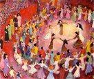 "Wedding Circles by Caryl Herzfeld Women dance with the bride. 24""x36"", acrylic  copyright C. Herzfeld."
