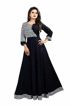 Crepe Printed Fit And Flared Ethnic Gown from Pooja's Fashion Closet Indian Party Wear Gowns, Party Wear Long Gowns, Fancy Gowns, Western Gown, Western Dresses, Designer Evening Gowns, Designer Gowns, Designer Kurtis, Casual Wear Women