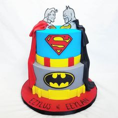 Batman Vs Superman cake for twin boys celebrating their first birthday today #mysugarrush
