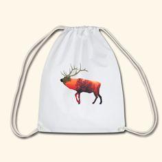 Elch im Sonnenuntergang - Turnbeutel Strand, Drawstring Backpack, Backpacks, Bags, Moose, Cinch Bag, Sunset, Nature, Handbags