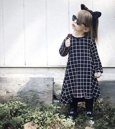 P. wearing dudes n dolls Black Grid TWIRL Dress