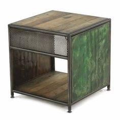 Bout de canapé carré en métal et bois avec lampe intégrée KLEO
