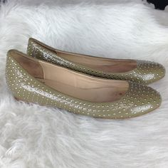 LISTING Pour La Victoire flats These olive green, silver studded flats are great slip ons for sun dresses or leggings. Lightly worn.          2916 Pour la Victoire Shoes Flats & Loafers