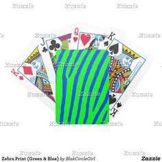 Zebra Print (Green & Blue) Bicycle Playing Cards
