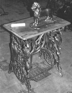 The first Kimball & Morton Lion Sewing Machine with the Lion's Legs in place