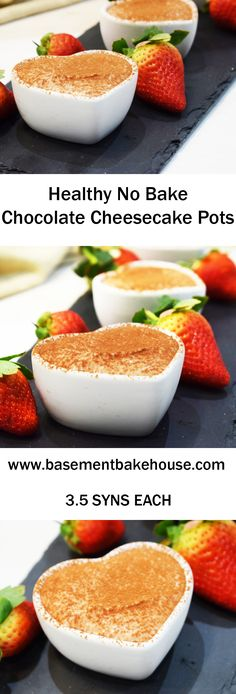 Healthy No Bake Chocolate Cheesecake Pots Healthy Chocolate Cheesecake Pots – Perfect for Valentine's Day – Syns each on Slimming World Slimming World Puddings, Slimming World Cake, Slimming World Desserts, Slimming Recipes, Slimming World Chocolate Cake, Slimming World Brownies, Slimming World Cheesecake, Slimming World Lunch Ideas, No Bake Chocolate Cheesecake