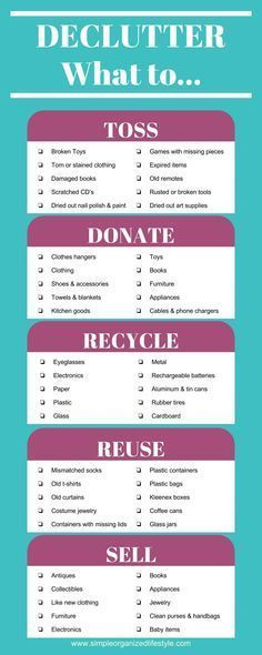 Declutter- What to Toss, Donate, Recycle, Reuse, Sell Organisation Ideen Housekeeping Cleaning Checklist, House Cleaning Tips, Spring Cleaning, Cleaning Hacks, Cleaning Solutions, Casa Clean, Clean House, Planners, Clutter Control