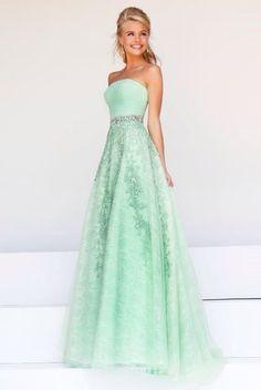 Cute mint green prom dress