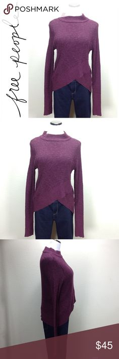 Free People Long Sleeve Purple Sweater Cotton & linen blend long sleeve purple sweater with v hemline in front. In excellent condition with no visible stains, holes or piling.  Thanks for your interest!  Please checkout the rest of my closet. Free People Sweaters