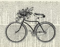 Vintage bike II printed on page from old dictionary from etsy FauxKiss $10