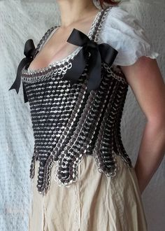 Pop tab Corset - Zombie Gear!  I bet I could make some cool Zombie protection gear!