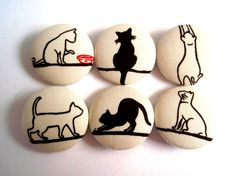 6 Large Fabric Buttons Set  Black and White Cats on by Grandeurina, $6.00