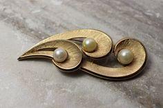 June Birthstone - Vintage Trifari Goldtone brooch faux pearl signed Trifari