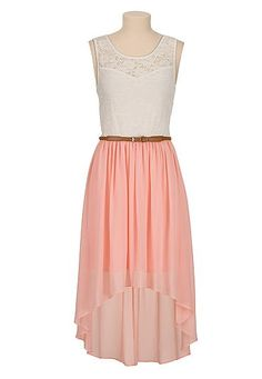 Belted high-low sweetheart lace top dress (original price, $44) available at #Maurices