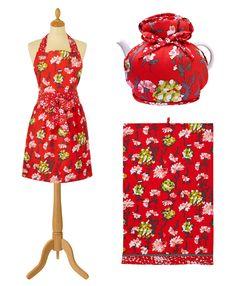 LAUREN HORROCKSES KITCHEN COLLECTION Strawberry Decorations, Kitchen Collection, Kitchen Items, Print Patterns, Textiles, Red, Fashion, Moda, Fashion Styles