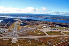Aerial View of Gander International Airport -- CYQX. Numerous fuel stops here from Dallas in the G-3 trips to London.