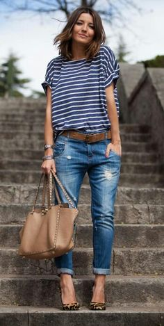 Absolutely love the boyfriend jeans! I want to add one or two pairs of cute boyfriend jeans to my closet! Mode Outfits, Casual Outfits, Fashion Outfits, Fashion Trends, Fashion Ideas, Travel Outfits, Latest Fashion, School Outfits, Jeans Fashion