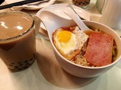 hot almond milk tea with egg ramen and luncheon meat :D