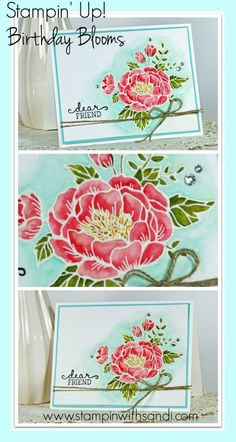 From the upcoming Stampin Up Spring Occasions catalog 2016 - the Birthday Blooms Stamp set, water coloured by Sandi @ www.stampinwithsandi.com, click on image for details and card recipe