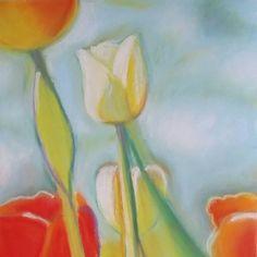 Nuovo disegno a pastello. È  uno studio sui tulipani che adoro. Pastelli morbidi su carta Pastelmat 18x24 cm.
