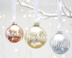 Add some sparkle to your home with these beautiful personalised glitter baubles. Friends and loved ones will love this truly unique Personalised Glass Bauble. With your choice of word or date applied. Personalised Bauble, Personalised Christmas Baubles, Personalized Gifts, Diy Christmas Baubles, Diy Christmas Gifts, Christmas Bulbs, Christmas Bowl, Handmade Christmas, Dinner Party Favors