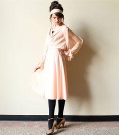 70s Pastel Peach Party Frock  vintage blush by factoryhandbook, $55.00