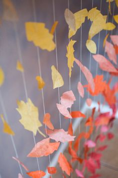 Fall Leaf Garland Display by KMHallbergDesign on Etsy Fall Festival Decorations, Fall Classroom Decorations, Class Decoration, Autumn Display Classroom, Dance Decorations, Autumn Art, Autumn Theme, Autumn Leaves, Fall Leaf Garland