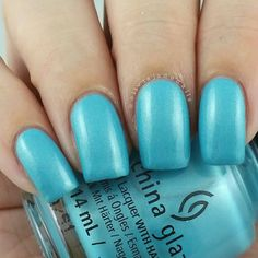 China Glaze What I Like About Blue swatched by Olivia Jade Nails