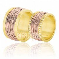 Alianças de Noivado e Casamento em Ouro Rose 18k 0,750 - FA-383-R