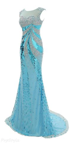 Stunning Crystal Beaded Tulle Evening Gown