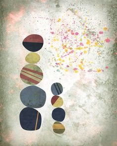 Rock pile, totem, graphic art, poster, rock art, stone art, nature art, beach art, beach wall art, pattern art,  ocean print, abstract art on Etsy, $29.41