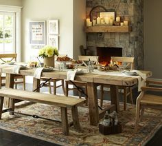 Benchwright Reclaimed Wood Fixed Dining Table - Wax Pine finish | Pottery Barn (If it would fit, I would love the Bigger table)