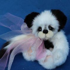 "REAL ERMINE Fur MINK 5"" PANDA Bear Susan Arnot OOAK"