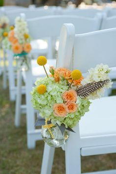 the mason jar flower table arrangements can be used for this too!! love it