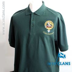 Stewart Clan Crest Embroidered Polo Shirt. Free worldwide shipping available