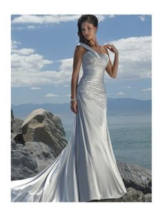 A-line One Shoulder Strap Neckline Lace Beach Wedding Dresses -- Repinned by favorite follower Darrian Trice.