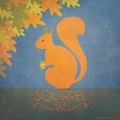 "Squirrel Print Original Design Animal Alphabet Poster Art Deco Vintage 1930's 1940's Childrens Baby Nursery 7x7"" Square Cute Beautiful Retro"