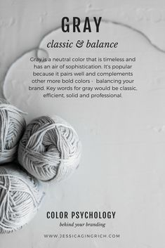 Brand Color Psychology - Gray is Classic & Balance - Jessica Gingrich Creative Web Design, Graphic Design, Design Color, Bold Colors, Neutral Colors, Calming Colors, Psychology Quotes, Psychology Meaning, Psychology Studies
