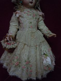 Exquisite french bebe Couturier Costume Dress w/ Petticoat Cap Basket from believe on Ruby Lane