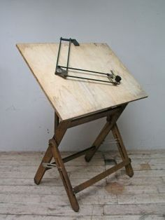 Adjustable mid century oak draughtsman's table with ply board  h.140 w.110 d.75cm  ** WAS £375, NOW £225 **