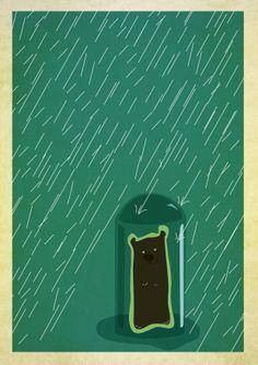 Bear, rain and glass - digital illustration by Miriane Camargo