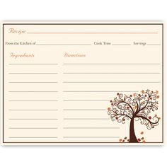 Have guests share recipes at your bridal shower with this autumn inspired recipe card featuring a lovely tree with falling leaves.                                                                                                                                                                                 More