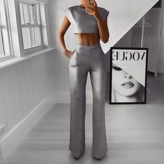 Sexy Sleeveless Pure Colour Two-Piece Jumpsuit Classy Outfits, Chic Outfits, Trendy Outfits, Fashion Outfits, Womens Fashion, Two Piece Jumpsuit, Elegantes Outfit, Two Piece Outfit, Fashion Clothes