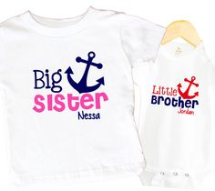 Anchor Shirt Set Sister Brother Personalized Nautical Anchor Navy Pink Big Sister Little Brother Sibling Set Cute by SweetTeez1 on Etsy https://www.etsy.com/listing/229927208/anchor-shirt-set-sister-brother