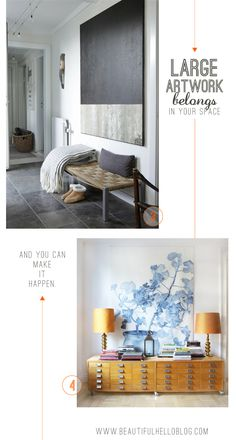 Tips for painting your own large sized artwork.  Big art in modern spaces.  Beautiful Hello Blog