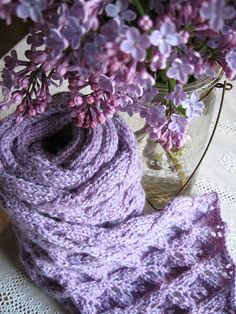 lavender scarf and lilacs