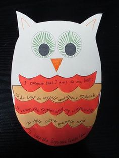 Week 3 activity for Brownies - making a promise owl - get Brownies to add one of… Brownies Girl Guides, Brownie Guides, Barn Crafts, Owl Crafts, Brownies Uk, Brownie Meeting Ideas, Brownies Activities, Rainbow Promise, Brownie Badges