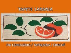 Tapete Laranja - Fio conduzido / tapeçaria / tapestry crochê - Professor...